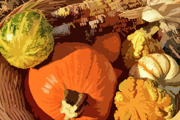 Wicker Basket Digital Art - Autumn Gourds And Indian Corn In Basket I by Linda Brody