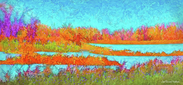 Digital Art - Autumn Grassy Meadow With Floating Lakes by Joel Bruce Wallach