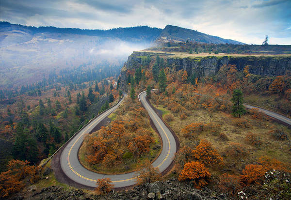 Winding Roads Photograph - Autumn Hairpin Turn by Mike  Dawson