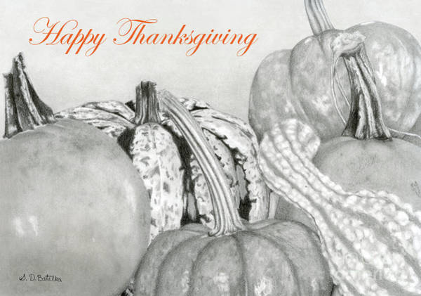 Black And White Nature Drawing - Autumn Harvest- Happy Thanksgiving Cards by Sarah Batalka