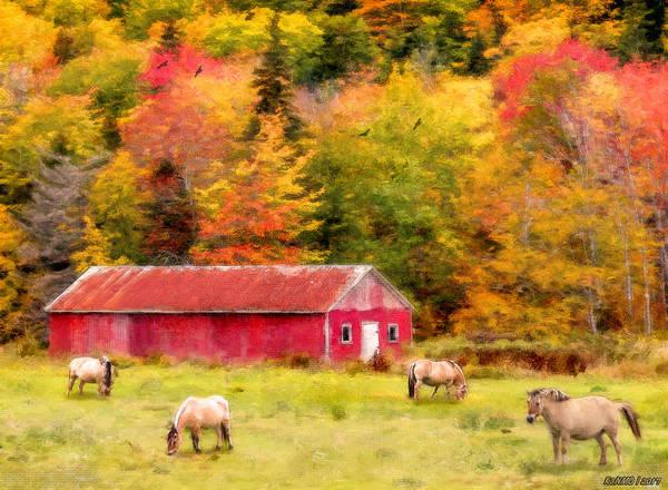 Ken Morris Digital Art - Autumn Horses by Ken Morris