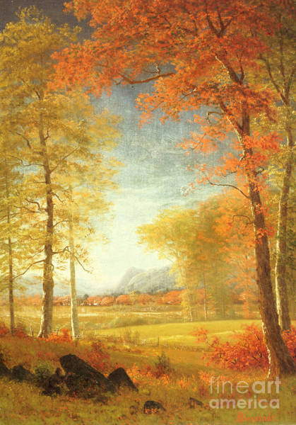 Upstate New York Wall Art - Painting - Autumn In America by Albert Bierstadt