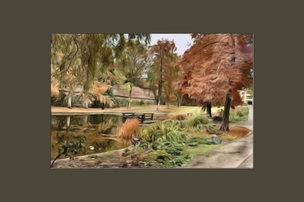 Park Bench Digital Art - Autumn In The Park by Amanda Patrick