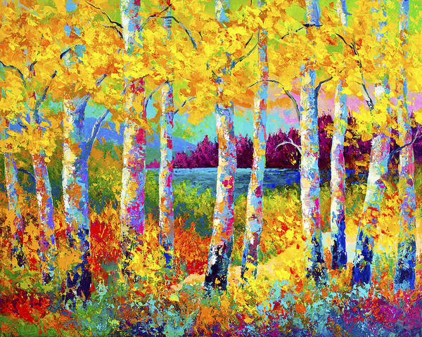 Birches Painting - Autumn Jewels by Marion Rose