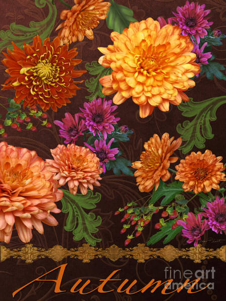 Zinnia Wall Art - Painting - Autumn-jp3575 by Jean Plout