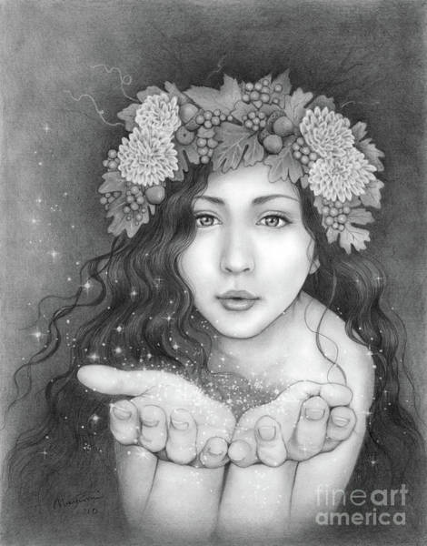 Black Magic Drawing - Autumn Kiss by Mayumi Ogihara