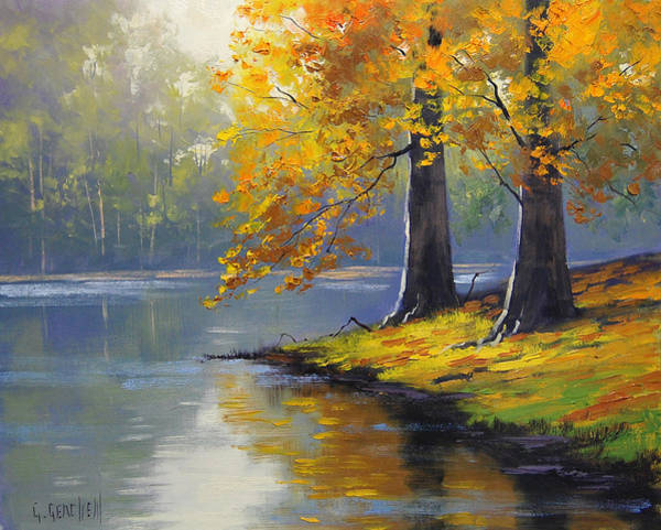 Leaf Painting - Autumn Lake Print by Graham Gercken