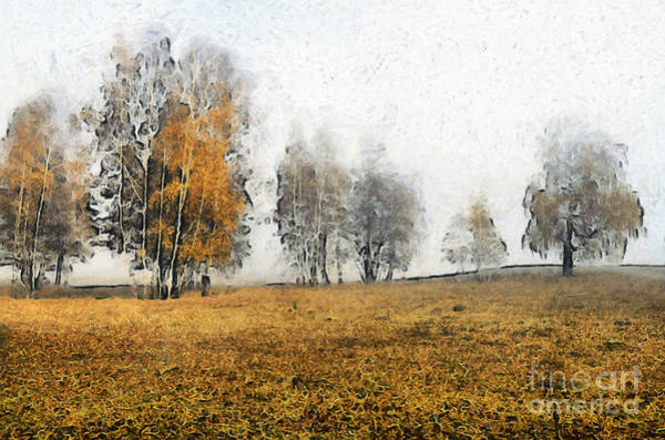 Painting - Autumn Landscape In The Mist Paint by Odon Czintos