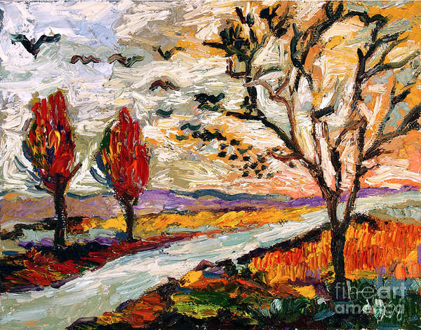 Autumn Landscape Oil Painting Heading South Art Print by Ginette Callaway