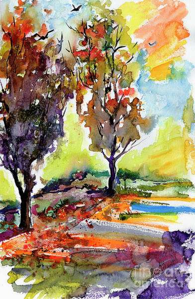 Painting - Autumn Landscape Trees Watercolor by Ginette Callaway
