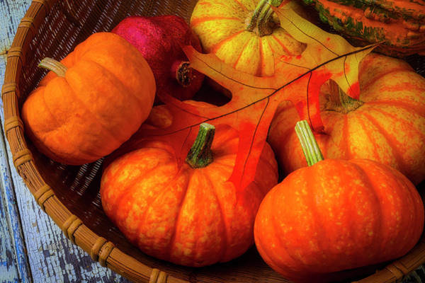 Wall Art - Photograph - Autumn Leaf With Pumpkins by Garry Gay