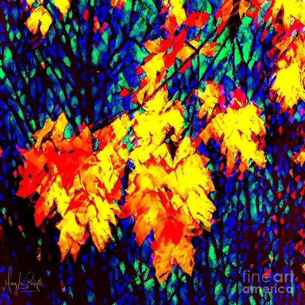 Digital Art - Autumn Leaves  Abstract  by MaryLee Parker