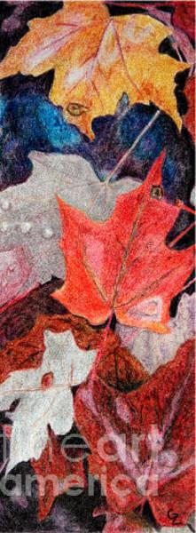 Rust Drawing - Autumn Leaves by Glenda Zuckerman