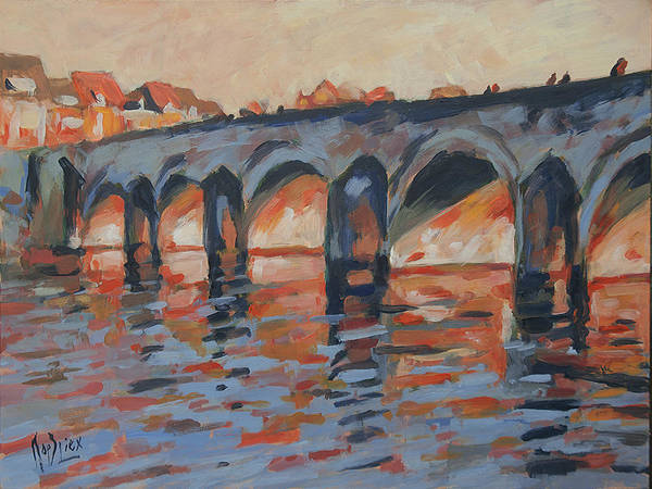 Autumn Light Through The Saint Servaas Bridge Maastricht Art Print