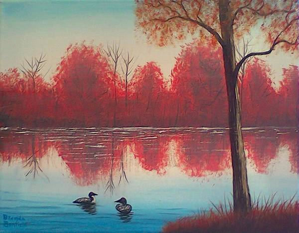 Loon Painting - Autumn Loons by Brenda Bonfield