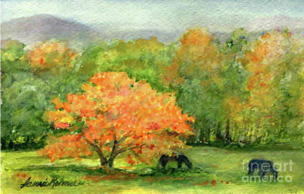 Painting -  Autumn Maple With Horses Grazing by Laurie Rohner