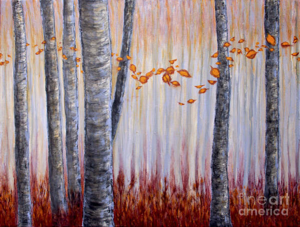 Painting - Autumn Mist And Birch Trees by Tim Musick