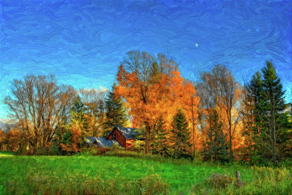 Impasto Photograph - Autumn Moon Rising by Steve Harrington
