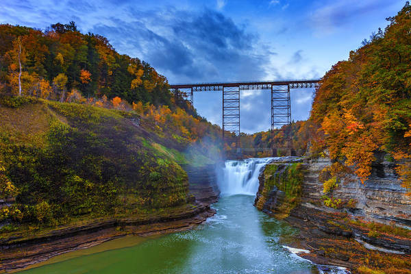 Letchworth Photograph - Autumn Morning At Upper Falls by Rick Berk