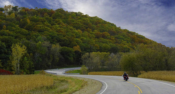 Wall Art - Photograph - Autumn Motorcycle Rider / Black by Patti Deters