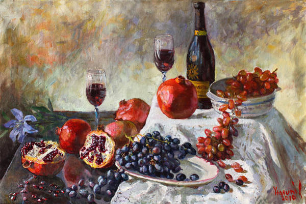 Pomegranates Painting - Autumn N' A Flower by Ylli Haruni