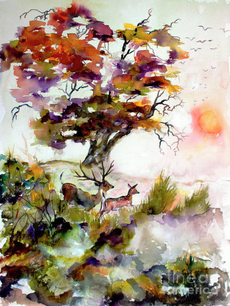 Painting - Autumn Oak And Deer Sunset  by Ginette Callaway