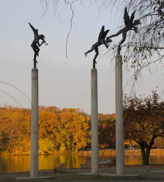 Philadelphia Phillies Digital Art - Autumn On Kelly Drive - 3 Angels by Bill Cannon