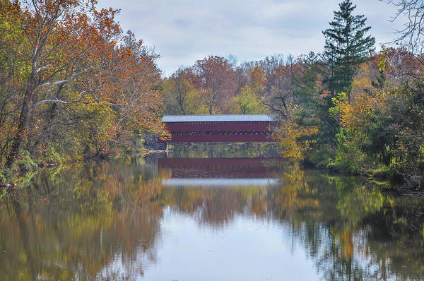 Wall Art - Photograph - Autumn On Swamp Creek - Sachs Covered Bridge by Bill Cannon