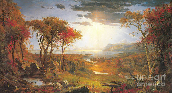 Painting - Autumn On The Hudson Rive by Celestial Images