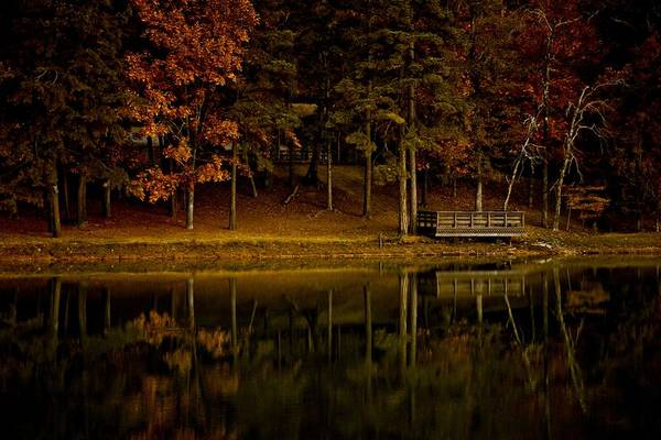 Deck Digital Art - Autumn On The Lake by Linda Unger