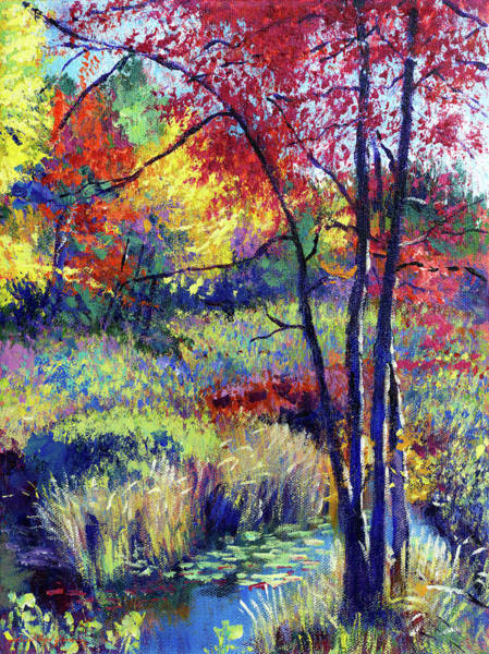 Painting - Autumn Pond Plein Air by David Lloyd Glover