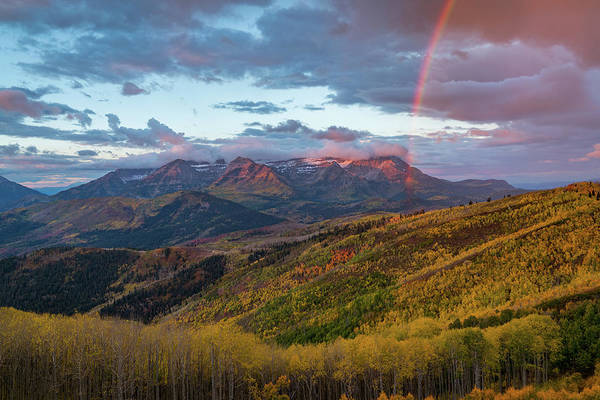 Photograph - Autumn Rainbow Over Mount Timpanogos by James Udall