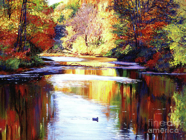 Ducks Painting - Autumn Reflections by David Lloyd Glover