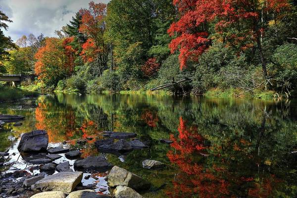 Linville Falls Wall Art - Photograph - Autumn River Landscape by Carol Montoya