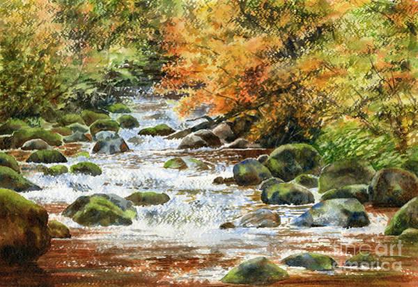 Wall Art - Painting - Autumn River Rocks 1 by Sharon Freeman
