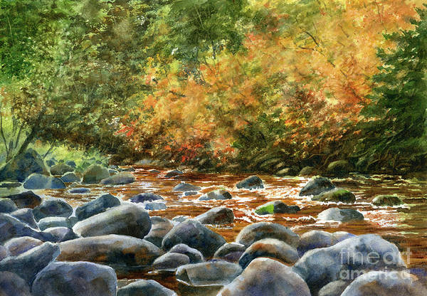 Wall Art - Painting - Autumn River Rocks 2 by Sharon Freeman