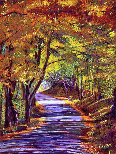 Wall Art - Painting - Autumn Road by David Lloyd Glover