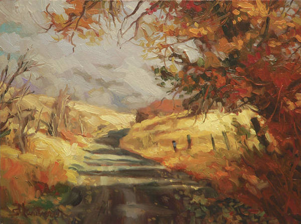 Wall Art - Painting - Autumn Road by Steve Henderson