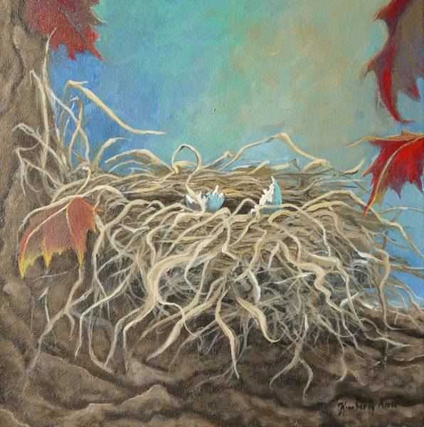 Empty Nest Wall Art - Painting - Autumn Robin Nest by Kimberly Benedict