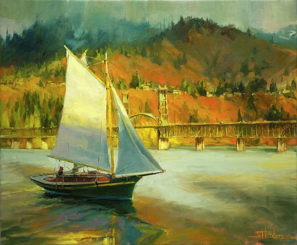 Waterway Painting - Autumn Sail by Steve Henderson