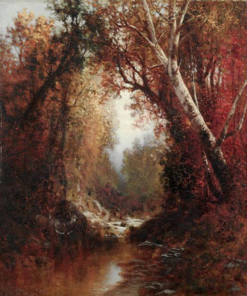 Adirondack Mountains Painting - Autumn Scene In The Adirondacks by William Hart
