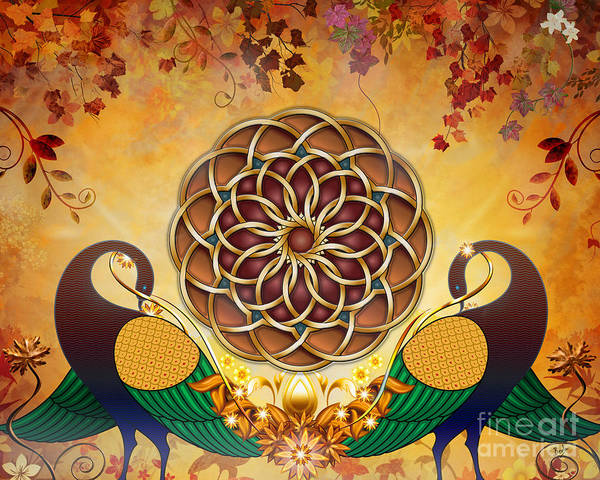 Entwine Wall Art - Mixed Media - Autumn Serenade - Mandala Of The Two Peacocks by Peter Awax