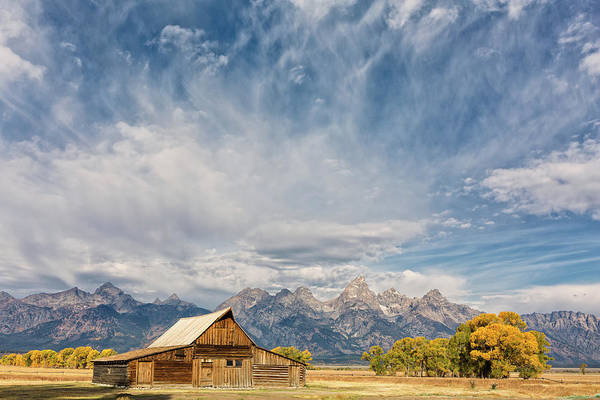 Wall Art - Photograph - Autumn Sky Over Moulton Barn by Kathleen Bishop
