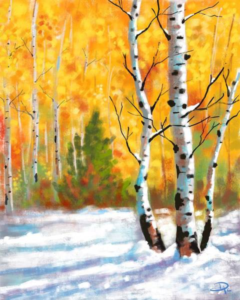 Wall Art - Digital Art - Autumn Snow by David G Paul