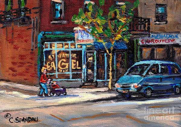 Painting - Autumn Street Scenes Canadian Paintings St Viateur Bagel Best Authentic Original Montreal Art by Carole Spandau