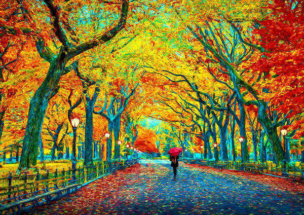 Park Bench Digital Art - Autumn Stroll In Central Park by Theo Westlake