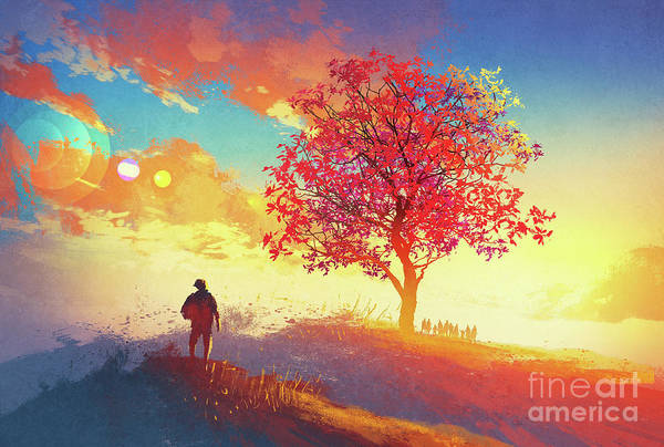 Art Print featuring the painting Autumn Sunrise by Tithi Luadthong