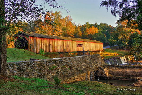 Photograph - Autumn Sunrise Watson Mill Covered Bridge State Park by Reid Callaway