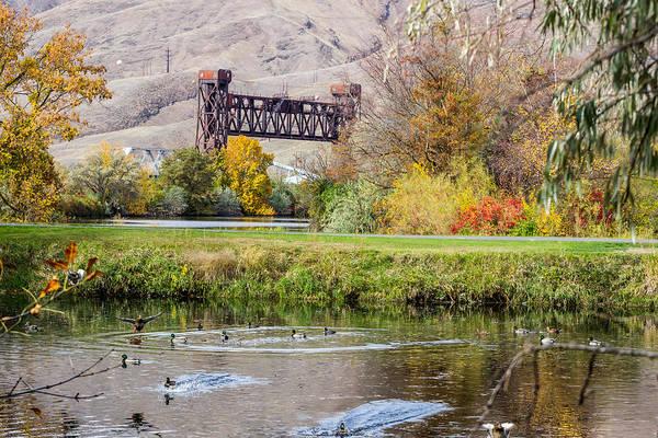 Lewiston Photograph - Autumn Train Bridge by Brad Stinson