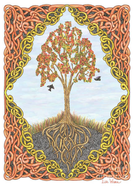 Autumn Tree With Knotted Roots And Knotted Border Art Print